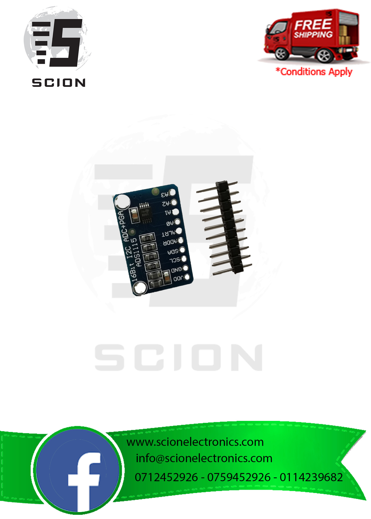 I2C ADS1115 16 Bit ADC 4 channel Module With Programmable Gain Amplifier  2 0V to 5 5V
